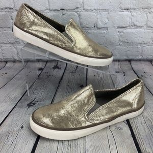 Sperry Top-Sider Gold Leather Slip On Sneakers